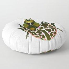 Green, White, Pink Beetle Floor Pillow