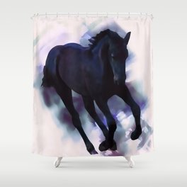 A Friesian foal's morning joy Shower Curtain