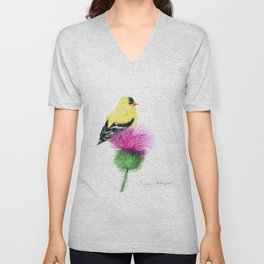 Little Goldfinch by Teresa Thompson Unisex V-Neck