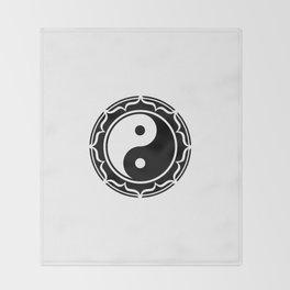 Yin Yang Lotus Flower Throw Blanket