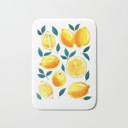 Golden lemons pattern in watercolor Bath Mat