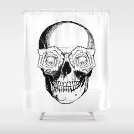 Skull and Roses | Black and White Shower Curtain