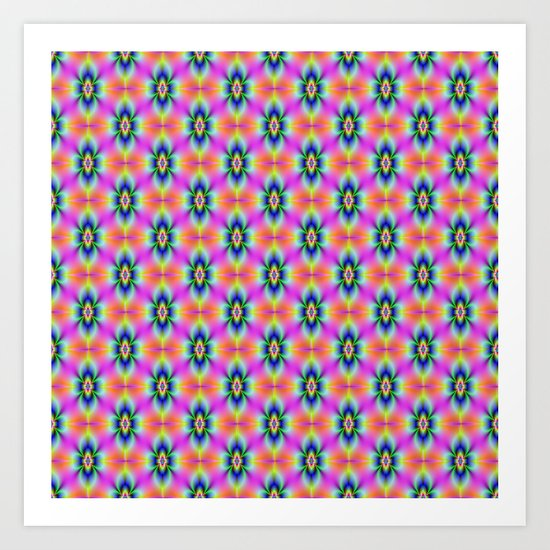 Flower in Neon tiled Art Print