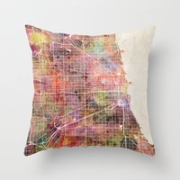 chicago map Throw Pillows featuring Chicago map by MapMapMaps.Watercolors