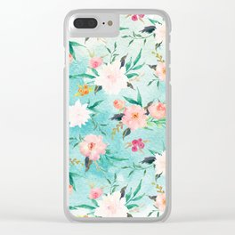 Turquoise Pink Watercolor Flower Pattern Clear iPhone Case