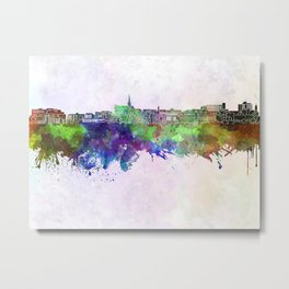 Geelong skyline in watercolor background Metal Print