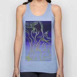 Yellow and Purple Elephants on Parade Unisex Tank Top