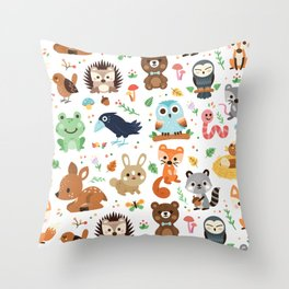 Woodland Animal Throw Pillow