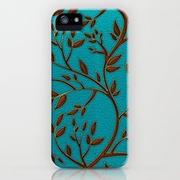 Teal Leather and Gold Tree Leaves pattern iPhone Case