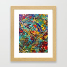 FIREWORKS IN COLOR - Bold Abstract Acrylic Painting Lovely Masculine Colorful Splash Pattern Gift Framed Art Print