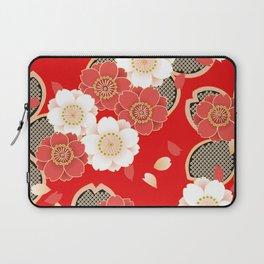 Japanese Vintage Red Black White Floral Kimono Pattern Laptop Sleeve