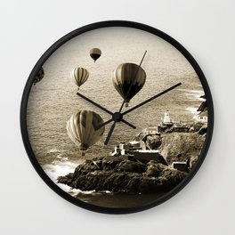 Flying Hot air Balloons over Newfoundland Monochrome Sepia color Wall Clock