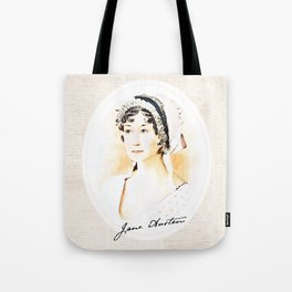 Portrait of a lady writer - Jane Austen Tote Bag