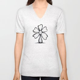 """""""Blank Face"""" Flowerkid Unisex V-Neck"""