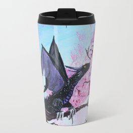 Baby Black Dragon in Cherry Tree Travel Mug