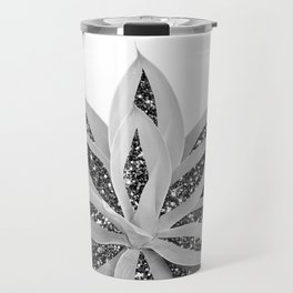Gray Agave with Black Silver Glitter #1 #shiny #tropical #decor #art #society6 Travel Mug