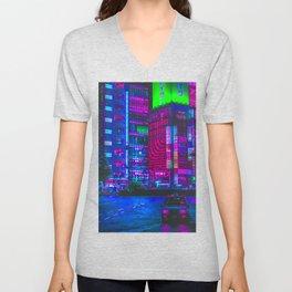 Retro Game VHS Cyberpunk City Unisex V-Neck