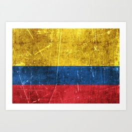 Vintage Aged and Scratched Colombian Flag Art Print