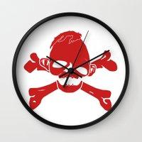 the goonies Wall Clocks featuring Goonies Never say die Red by Komrod