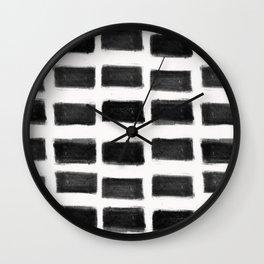 Brush Strokes Horizontal Lines Black on Off White Wall Clock