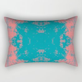 Living Coral Turquoise Shibori Tye Dye Rectangular Pillow
