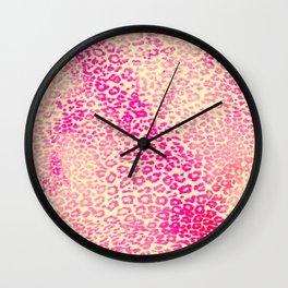 Modern Pink Yellow Watercolor Cheetah Animal Wall Clock