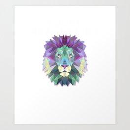 I Just Really Like Lions, OK? Polygon Abstract Art Print