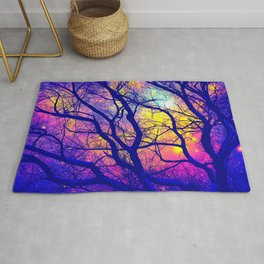 Black Trees Deep Bright & Colorful Space Rug