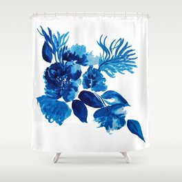Blue watercolor flowers and stems Shower Curtain