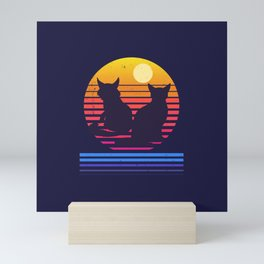 Cats Retro Synthwave Sunset Together Forever Mini Art Print