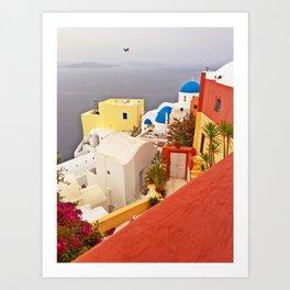 Oia, Santorini, Greece Color Explosion Art Print