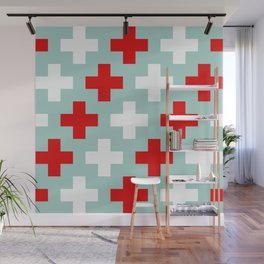 Red and White Crosses Wall Mural