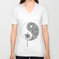 yin yang V-neck T-shirts featuring Yin Yang by KA Doodle
