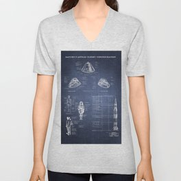 Apollo 11 Saturn V Command Module Blueprint in High Resolution (dark blue) Unisex V-Neck