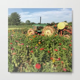 Flower Field Farm Tractor Metal Print