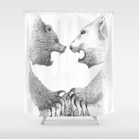 bears Shower Curtains featuring Bears by Aurelio