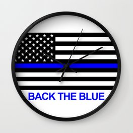 Thin Blue Line Back the Blue Flag Wall Clock