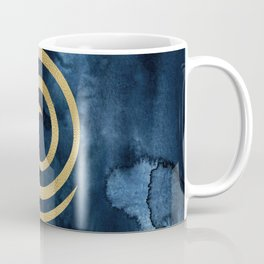 Infinity Navy Blue And Gold Abstract Modern Art Painting Coffee Mug