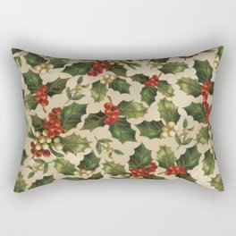 Gold and Red Holly Berrys Rectangular Pillow