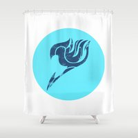 fairy tail Shower Curtains featuring Fairy Tail Segmented Logo (Gray) circle by JoshBeck