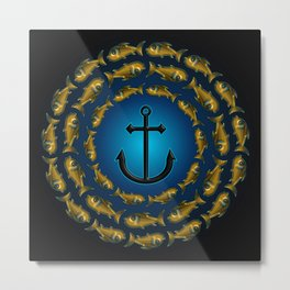Fish & Anchor Metal Print