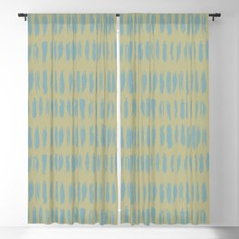 Tranquil Blue on Earthy Green Parable to 2020 Color of the Year Back to Nature Grunge Vertical Dash Blackout Curtain