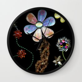 Happy Day in the Garden, Jewelry Scanography Wall Clock