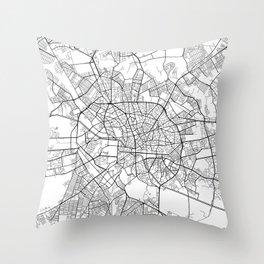 Bucharest Map, Romania - Black and White Throw Pillow