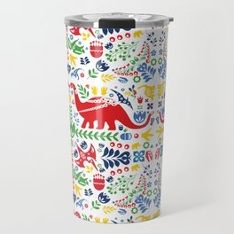 Swedish Folk Art Dinosaurs Travel Mug