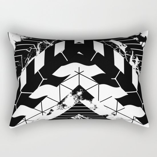 Layered (Black and white, abstract, geometric designs) Rectangular Pillow