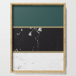 Marble Mix Stripes #4 #black #white #green #gold #decor #art #society6 Serving Tray