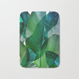 Palm leaf jungle Bali banana palm frond greens Bath Mat