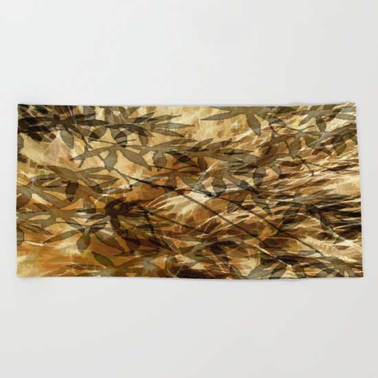 Golden Leaf Shadows Abstract Beach Towel
