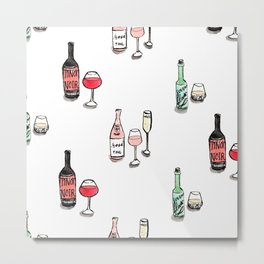 #DrinkWineDay Pattern Metal Print